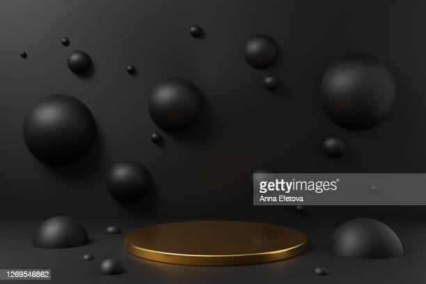 golden podium on black background with spheres. - construction platform stock pictures, royalty-free photos & images