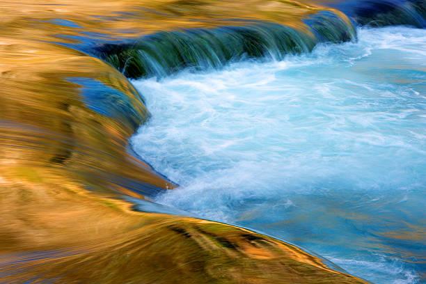 Golden reflections on Krka River, long exposure