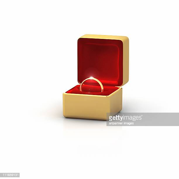 golden ring in a box with a diamond - engagement ring box stock photos and pictures