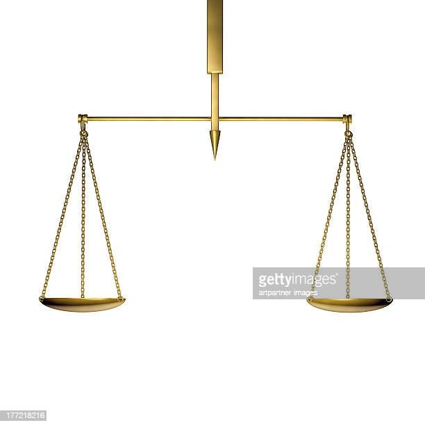 a golden scale in balance on white - scales balance stock pictures, royalty-free photos & images