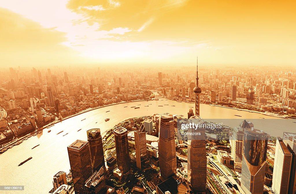 golden shanghai skyline panoramic stock photo getty images