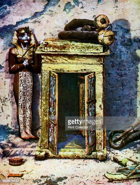Golden shrine in the antechamber of Tutankhamun's tomb Egypt 19331934 Embossed with scenes representing incidents in the lives of the departed...