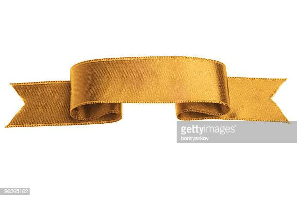 golden silk ribbon banner on white background - ribbon stock pictures, royalty-free photos & images