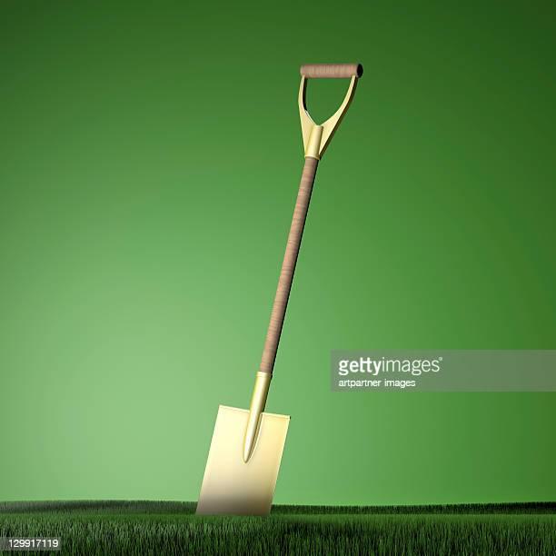 Golden spade in a meadow