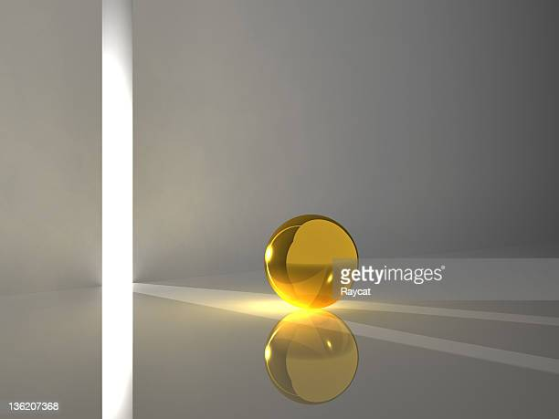 golden sphere reflecting light - ball stock pictures, royalty-free photos & images