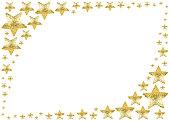 golden star frame white background isolated