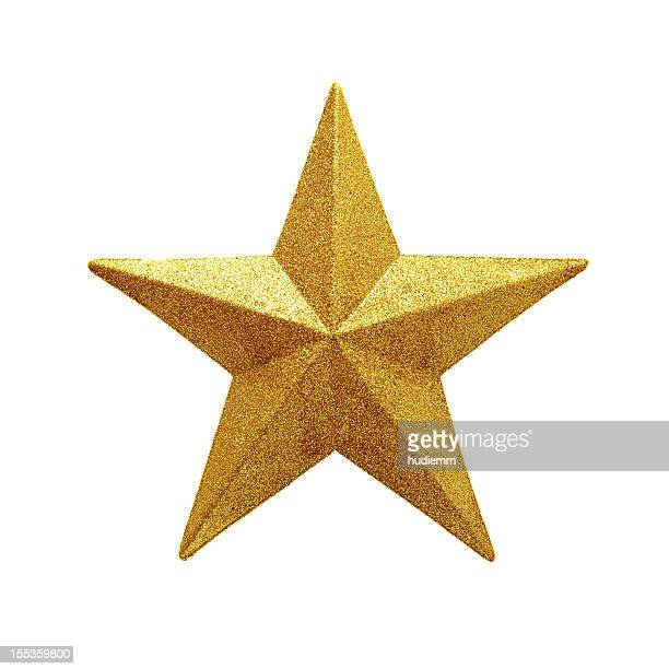 golden star isolated on white background - decoration stock pictures, royalty-free photos & images