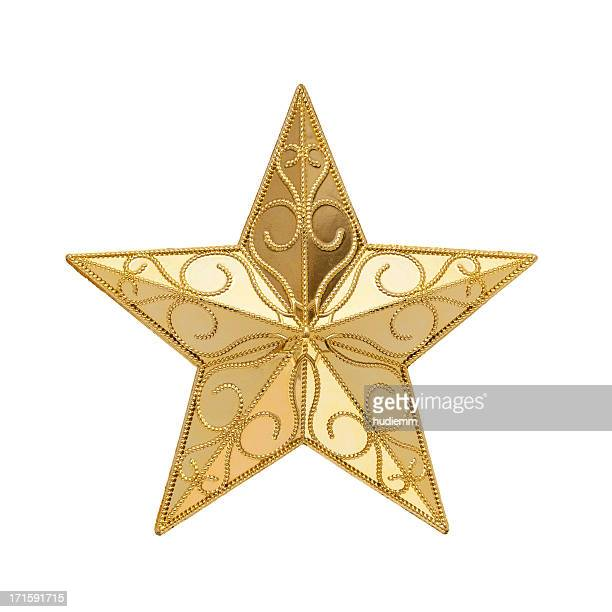 golden star (clipping path!) isolated on white background - christmas star stock photos and pictures