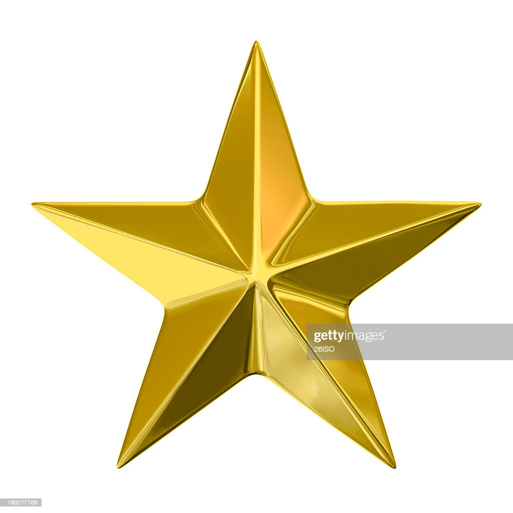 Golden Star on White Background, with Clipping Path (XXXL-49MPx) : Stock Photo