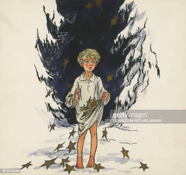 Golden stars falling from the sky to reward the little girl illustration for The star money fairy tale by the Grimm brothers Jacob and Wilhelm drawing