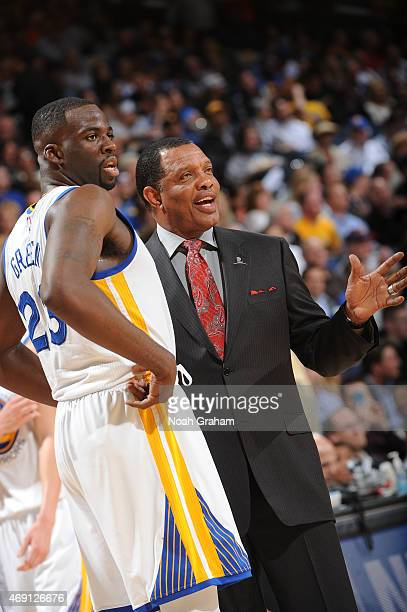 Golden State Warriors assistant coach Alvin Gentry meets with Draymond Green while facing the Portland Trail Blazers on April 9 2015 at Oracle Arena...