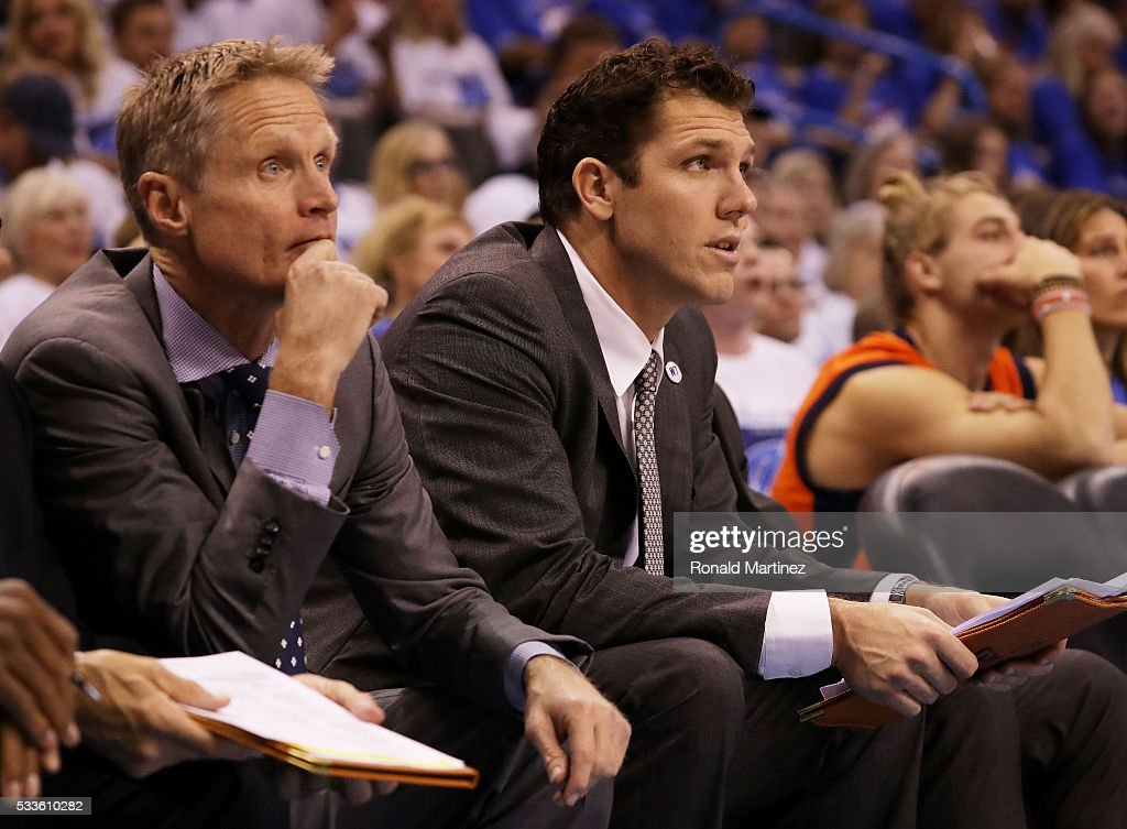 Golden State Warriors Assistant Coach Luke Walton and Head Coach Steve Kerr look on in the second quarter against the Oklahoma City Thunder in game three of the Western Conference Finals during the 2016 NBA Playoffs at Chesapeake Energy Arena on May 22, 2016 in Oklahoma City, Oklahoma.