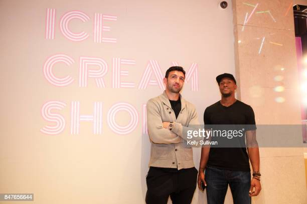 Golden State Warriors athletes Zaza Pachulia and David West pose for a photo at the Museum of Ice Cream opening party on September 15 2017 in San...