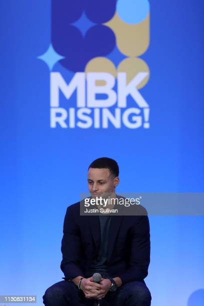 Golden State Warriors basketball player Stephen Curry looks on during the MBK Rising My Brother's Keeper Alliance Summit on February 19 2019 in...
