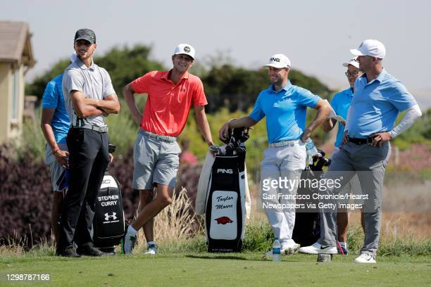 Golden State Warriors basketball star Stephen Curry, on Tues. August 1 with his group waiting to tee off, with his caddie Jonnie West, caddie Jason...