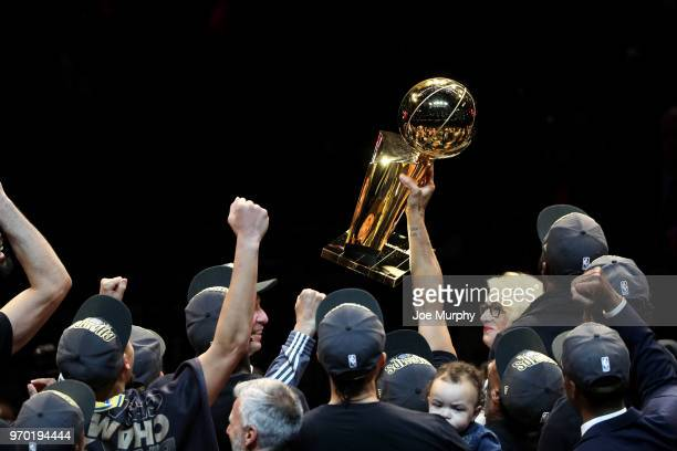 OH Golden State Warriors celebrate with the Larry O'Brien Championship Trophy after winning the 2018 NBA Finals 10885 against the Cleveland Cavaliers...