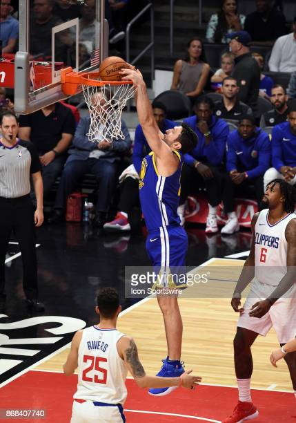 Golden State Warriors Center Zaza Pachulia dunks the ball during an NBA game between the Golden State Warriors and the Los Angeles Clippers on...