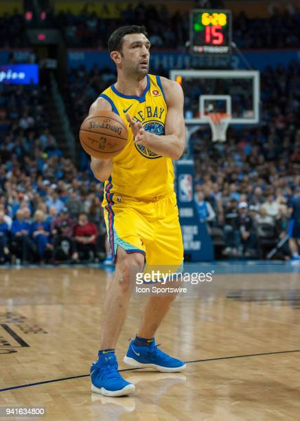 Golden State Warriors Center Zaza Pachulia making a pass versus Oklahoma City Thunder on April 03 2018 at Chesapeake Energy Arena in Oklahoma City...