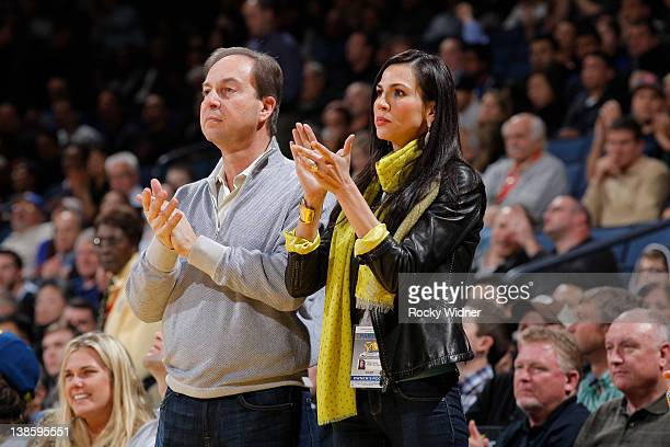 Golden State Warriors co owner Joe Lacob and Nicole Curran stand during a game between the Golden State Warriors and the Utah Jazz on February 2,...