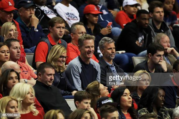 Golden State Warriors coach Steve Kerr looks on as the Arizona Wildcats play the Xavier Musketeers during the 2017 NCAA Men's Basketball Tournament...