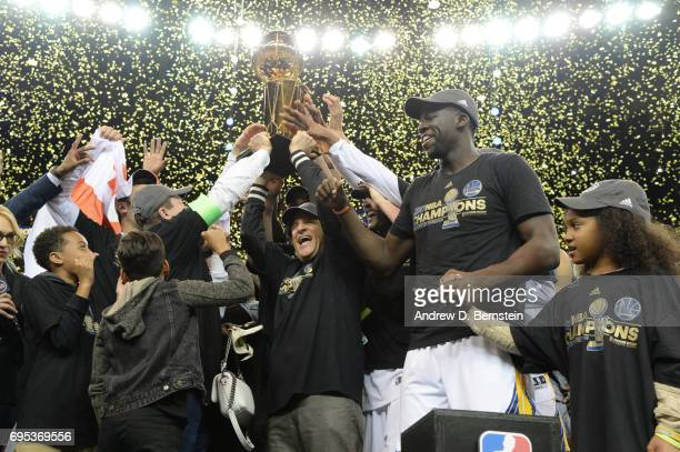Golden State Warriors coowner Peter Guber celebrates after winning the 2017 NBA Finals on June 12 2017 at ORACLE Arena in Oakland California NOTE TO...