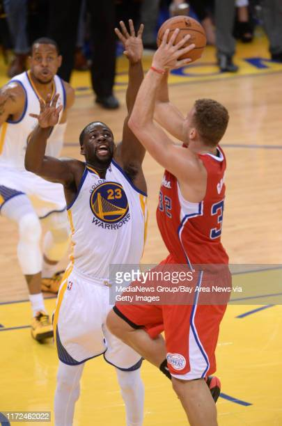 Golden State Warriors' Draymond Green guards against Los Angeles Clippers' Blake Griffin in the third quarter in Game 6 of their Western Conference...