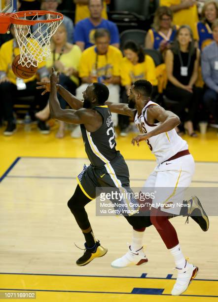 Golden State Warriors' Draymond Green is fouled by Cleveland Cavaliers' Tristan Thompson during the third quarter of Game 2 of the NBA Finals at...