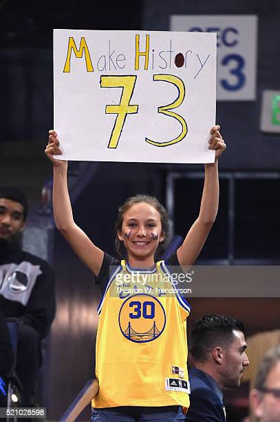 Golden State Warriors fan holds a sign prior to the game between the Memphis Grizzlies and the Golden State Warriors at ORACLE Arena on April 13 2016...