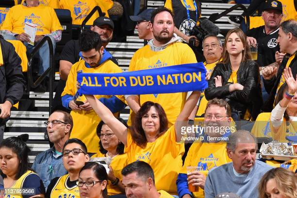 Golden State Warriors fan holds up a sign during a game against the LA Clippers in Game Two of Round One during the 2019 NBA Playoffs on April 15...