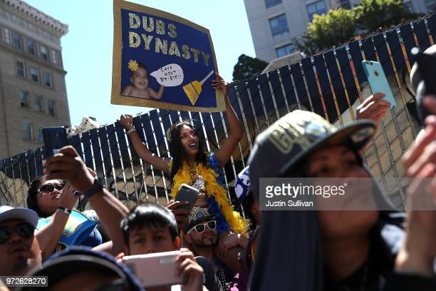 Golden State Warriors fans line the parade route during the Golden State Warriors Victory Parade on June 12 2018 in Oakland California The Golden...