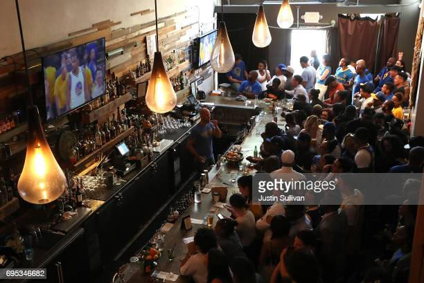 Golden State Warriors fans watch game 5 of the NBA Finals between the Goldens State Warriors and the Cleveland Cavaliers during a watch party at Era...