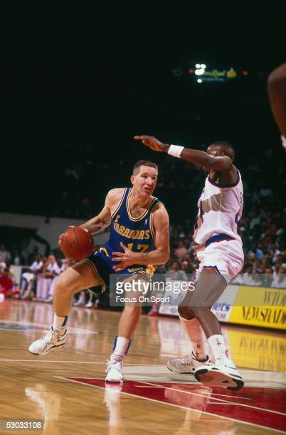 Golden State Warriors' forward Chris Mullin dribbles downcourt against the Washington Bullets at Capital Center circa the 1990's in Washington, D.C.....