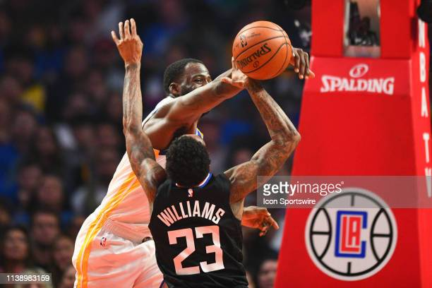 Golden State Warriors Forward Draymond Green blocks Los Angeles Clippers Guard Lou Williams shot during game four of the first round of the 2019 NBA...