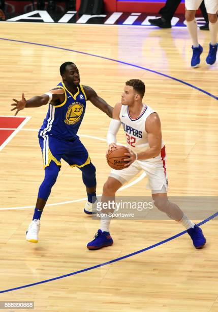 Golden State Warriors Forward Draymond Green guards Los Angeles Clippers Forward Blake Griffin during an NBA game between the Golden State Warriors...