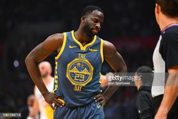 Golden State Warriors Forward Draymond Green reacts to a call during a NBA game between the Golden State Warriors and the Los Angeles Clippers on...