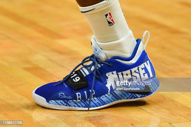 Golden State Warriors Forward Jordan Bell shoes in honor of Rapper Nipsey Hussle before game three of the first round of the 2019 NBA Playoffs...