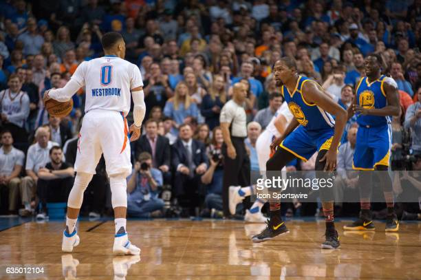 Golden State Warriors Forward Kevin Durant guarding Oklahoma City Thunder Guard Russell Westbrook on February 11 at the Chesapeake Energy Arena...