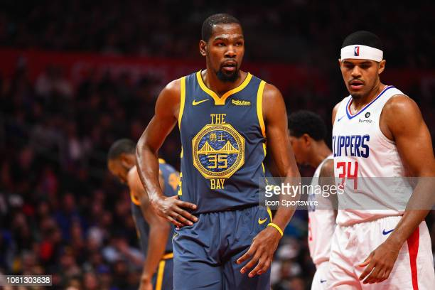 Golden State Warriors Forward Kevin Durant looks on during a NBA game between the Golden State Warriors and the Los Angeles Clippers on November 12...