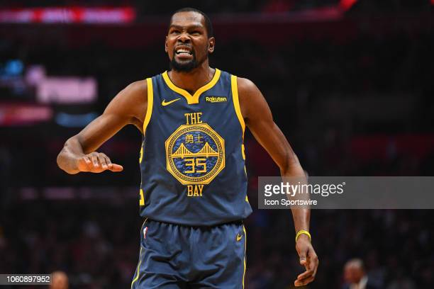 Golden State Warriors Forward Kevin Durant reacts to a call during a NBA game between the Golden State Warriors and the Los Angeles Clippers on...