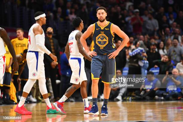 Golden State Warriors Guard Klay Thompson looks on in the final minute of overtime during a NBA game between the Golden State Warriors and the Los...