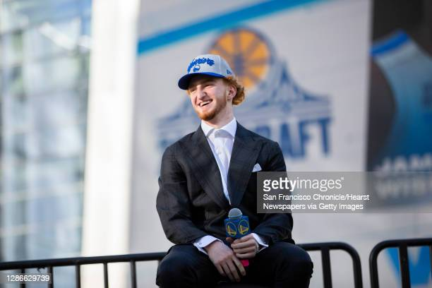 Golden State Warriors guard Nico Mannion outside Chase Center answers questions from members of the news and sports media on Thursday, Nov. 19 in San...