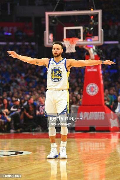 Golden State Warriors Guard Stephen Curry celebrates a three pointer during game four of the first round of the 2019 NBA Playoffs between the Golden...