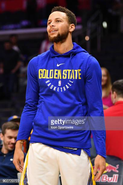 Golden State Warriors Guard Stephen Curry warms up before an NBA game between the Golden State Warriors and the Los Angeles Clippers on January 06...