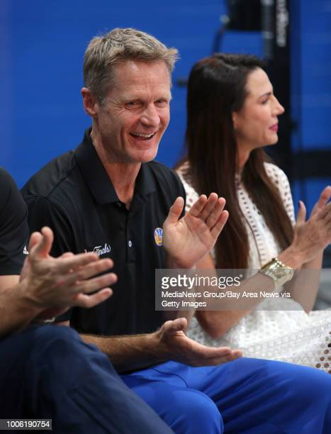 Golden State Warriors head coach Steve Kerr and Nicole Curran, fiance of Warriors majority owner Joe Lacob, attend a ribbon-cutting ceremony at the...