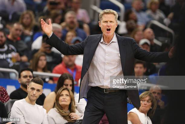 Golden State Warriors head coach Steve Kerr shouts at a referee as the Orlando Magic host the Golden State Warriors at Amway Center Friday Dec 1 2017...