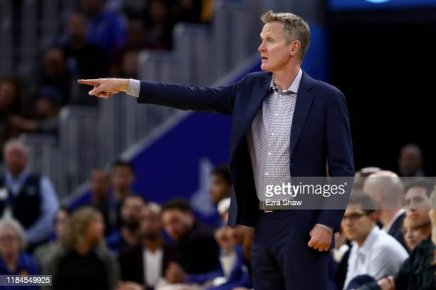 Golden State Warriors head coach Steve Kerr watches his team play against the Phoenix Suns at Chase Center on October 30 2019 in San Francisco...