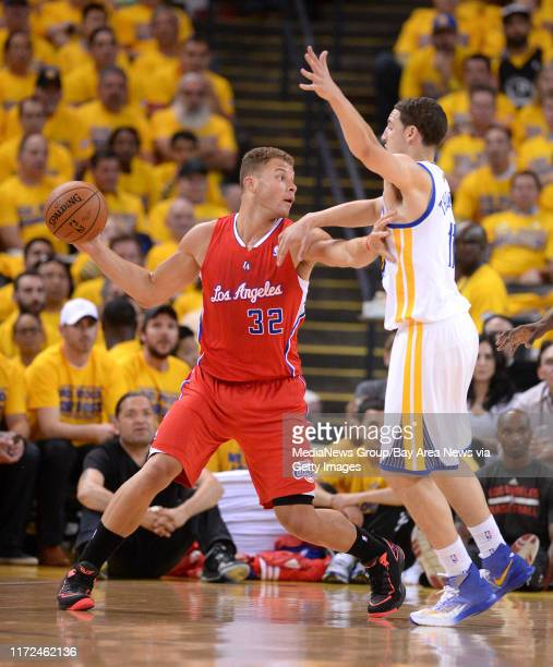 Golden State Warriors' Klay Thompson guards against Los Angeles Clippers' Blake Griffin in the first quarter in Game 6 of their Western Conference...
