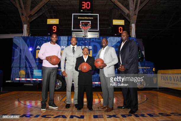 Golden State Warriors Legends Antawn Jamison Corey Maggette Muggsy Bogues Tony Delk and Adonal Foyle pose for a photo in front of the American...