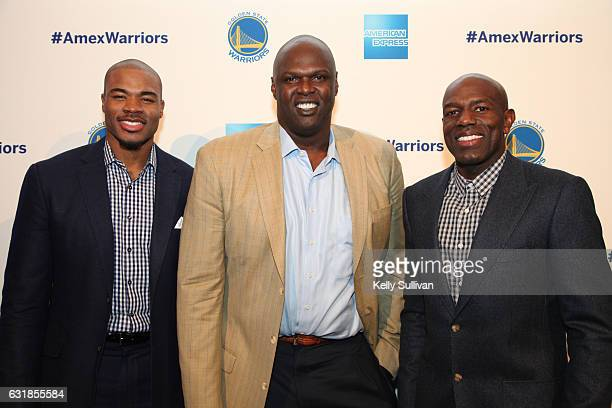 Golden State Warriors legends Corey Maggette Adonal Foyle and Tony Delk pose for a photo at the first American Express 'All for Dub Nation' Watch...