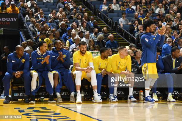 Golden State Warriors look on from the bench during the game against the Indiana Pacers on March 21 2019 at ORACLE Arena in Oakland California NOTE...